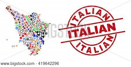 Tuscany Region Map Collage And Grunge Italian Red Circle Badge. Italian Stamp Uses Vector Lines And