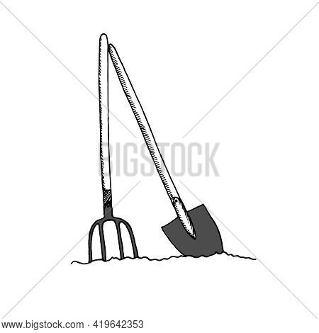 Contour Shovel And Pitchfork In The Ground, Isolated On A White Background.gardening Tool. Tool For