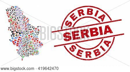 Serbia Map Mosaic And Serbia Red Circle Stamp Seal. Serbia Seal Uses Vector Lines And Arcs. Serbia M