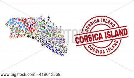 Menorca Island Map Collage And Dirty Corsica Island Red Round Stamp Seal. Corsica Island Badge Uses