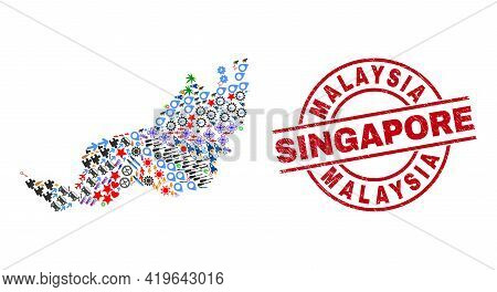 Sarawak State Map Collage And Dirty Malaysia Singapore Red Round Stamp. Malaysia Singapore Badge Use