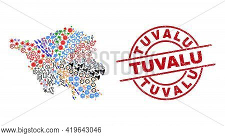 Saarland Land Map Mosaic And Textured Tuvalu Red Circle Stamp Print. Tuvalu Badge Uses Vector Lines