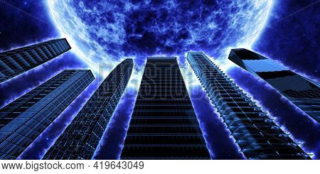 Skyscrapers Flaming With A Blue Aura On The Background Of A Blue Star. Fantasy On The Theme Of Other