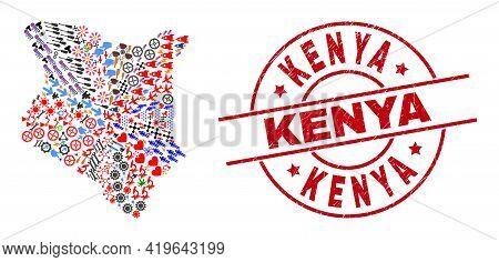 Kenya Map Mosaic And Kenya Red Round Stamp Seal. Kenya Stamp Uses Vector Lines And Arcs. Kenya Map M