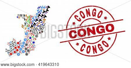 Republic Of The Congo Map Mosaic And Distress Congo Red Circle Stamp Seal. Congo Stamp Uses Vector L