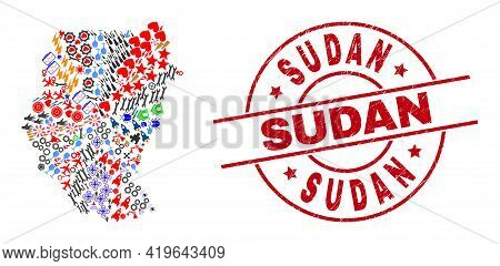 Sudan Map Mosaic And Sudan Red Round Stamp Seal. Sudan Stamp Uses Vector Lines And Arcs. Sudan Map M