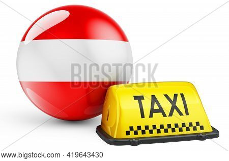 Taxi Service In Austria Concept. Yellow Taxi Car Signboard With Austrian Flag, 3d Rendering Isolated