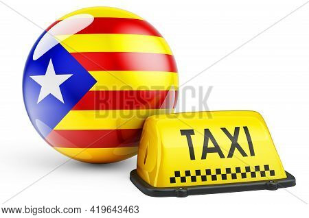 Taxi Service In Catalonia Concept. Yellow Taxi Car Signboard With Catalan Flag, 3d Rendering Isolate