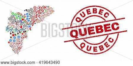 Alicante Province Map Mosaic And Grunge Quebec Red Circle Stamp Print. Quebec Stamp Uses Vector Line