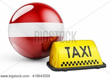 Taxi Service In Latvia Concept. Yellow Taxi Car Signboard With Latvian Flag, 3d Rendering Isolated O