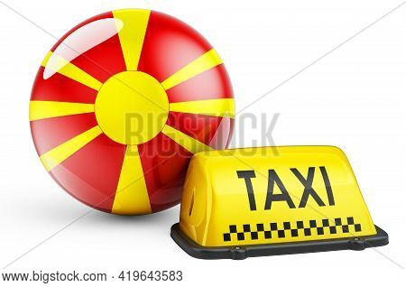 Taxi Service In Macedonia Concept. Yellow Taxi Car Signboard With Macedonian Flag, 3d Rendering Isol