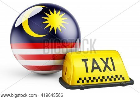 Taxi Service In Malaysia Concept. Yellow Taxi Car Signboard With Malaysian Flag, 3d Rendering Isolat
