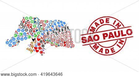 Rio Grande Do Norte State Map Collage And Grunge Made In Sao Paulo Red Circle Stamp Seal. Made In Sa