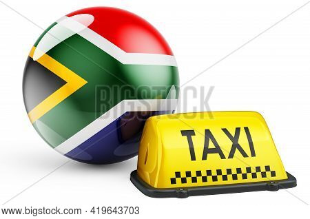 Taxi Service In South Africa Concept. Yellow Taxi Car Signboard With South African Flag, 3d Renderin