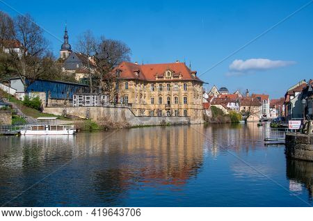 Bamberg, Germany, 23.04.2021. View Over The Pegnitz To The Famous Villa Concordia And The Historic O