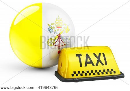 Taxi Service In Vatican Concept. Yellow Taxi Car Signboard With Vatican Flag, 3d Rendering Isolated