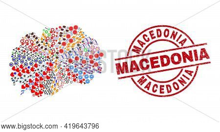 Macedonia Map Collage And Rubber Macedonia Red Round Seal. Macedonia Seal Uses Vector Lines And Arcs
