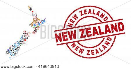 New Zealand Map Collage And Rubber New Zealand Red Circle Badge. New Zealand Badge Uses Vector Lines