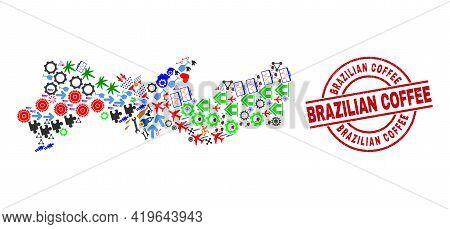 Pernambuco State Map Collage And Distress Brazilian Coffee Red Circle Seal. Brazilian Coffee Seal Us