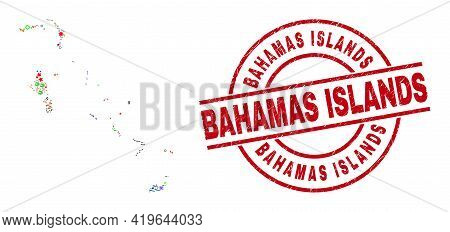 Bahamas Islands Map Collage And Distress Bahamas Islands Red Circle Stamp Seal. Bahamas Islands Stam