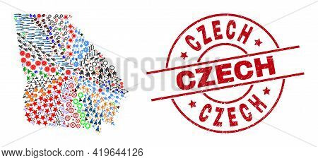 Georgia State Map Collage And Unclean Czech Red Circle Badge. Czech Badge Uses Vector Lines And Arcs