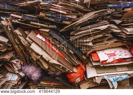 Belarus, Minsk Region - December 13, 2019: Waste Packed Cardboard Boxes, Waste And Recycling Paper G