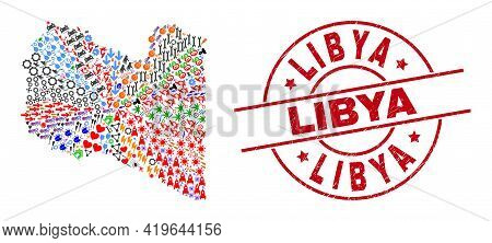 Libya Map Collage And Rubber Libya Red Round Badge. Libya Badge Uses Vector Lines And Arcs. Libya Ma