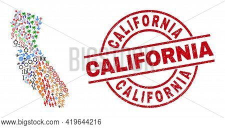 California State Map Collage And California Red Round Stamp Seal. California Stamp Uses Vector Lines