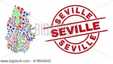 Lugo Province Map Collage And Textured Seville Red Round Stamp. Seville Stamp Uses Vector Lines And