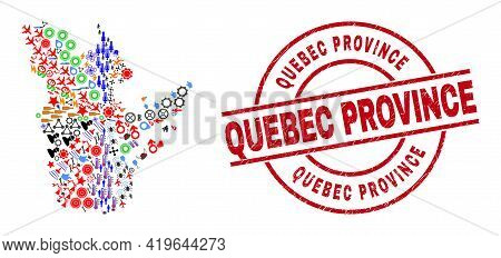 Quebec Province Map Collage And Quebec Province Red Round Badge. Quebec Province Badge Uses Vector L