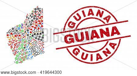 Western Australia Map Mosaic And Unclean Guiana Red Circle Stamp Seal. Guiana Seal Uses Vector Lines