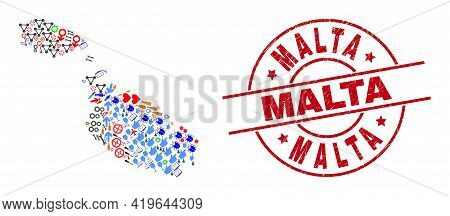 Malta Map Collage And Dirty Malta Red Circle Stamp Seal. Malta Stamp Uses Vector Lines And Arcs. Mal