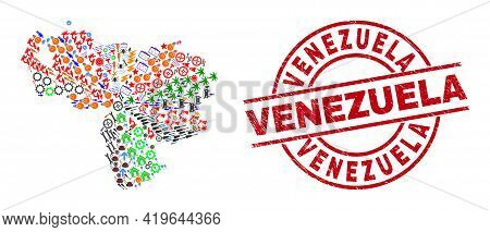 Venezuela Map Collage And Venezuela Red Round Badge. Venezuela Badge Uses Vector Lines And Arcs. Ven