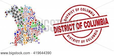 Bavaria Land Map Collage And District Of Columbia Red Round Stamp Imitation. District Of Columbia St
