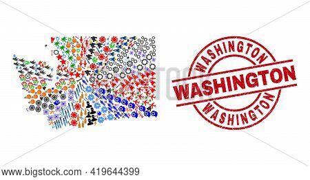 Washington State Map Collage And Grunge Washington Red Round Stamp Imitation. Washington Stamp Uses