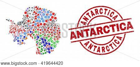 Antarctica Continent Map Collage And Unclean Antarctica Red Round Badge. Antarctica Badge Uses Vecto