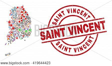 South Korea Map Mosaic And Dirty Saint Vincent Red Round Stamp Seal. Saint Vincent Stamp Uses Vector