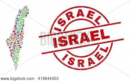 Israel Map Collage And Rubber Israel Red Circle Stamp Seal. Israel Stamp Uses Vector Lines And Arcs.