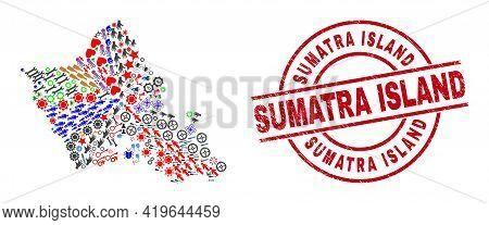 Oahu Island Map Collage And Grunge Sumatra Island Red Circle Watermark. Sumatra Island Seal Uses Vec