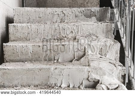Concrete Staircase At A Construction Site, Flight Of Stairs, Sloppy.