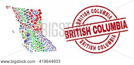British Columbia Map Collage And Scratched British Columbia Red Round Stamp. British Columbia Stamp