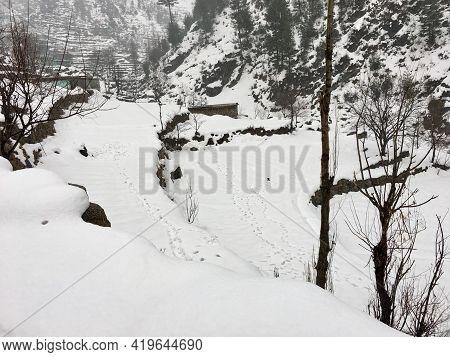 Heavy Snowfall In The Winter In A Village In Swat Pakistan