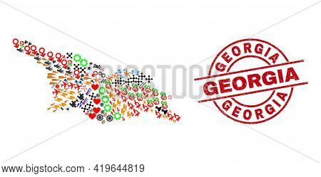 Georgia Map Collage And Georgia Red Circle Badge. Georgia Stamp Uses Vector Lines And Arcs. Georgia