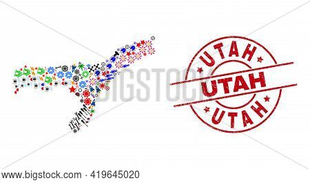 Assam State Map Collage And Grunge Utah Red Round Stamp Print. Utah Stamp Uses Vector Lines And Arcs