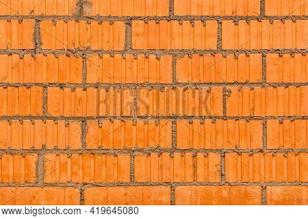 Masonry Brown Building Brick, Orange Abstract Wall Texture With Blocks Construction Background.