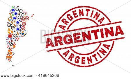 Argentina Map Mosaic And Dirty Argentina Red Round Stamp Print. Argentina Seal Uses Vector Lines And
