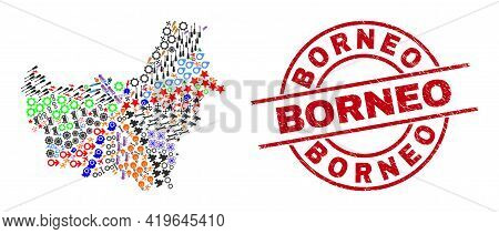 Borneo Map Mosaic And Distress Borneo Red Circle Stamp Seal. Borneo Stamp Uses Vector Lines And Arcs