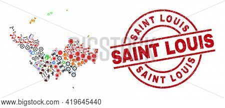 Saint Barthelemy Map Mosaic And Unclean Saint Louis Red Circle Stamp Imitation. Saint Louis Stamp Us