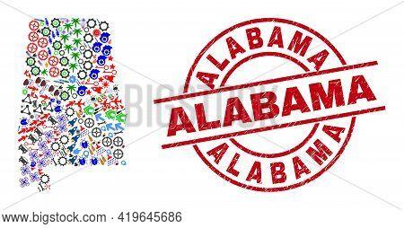 Alabama State Map Mosaic And Alabama Red Round Stamp Print. Alabama Stamp Uses Vector Lines And Arcs