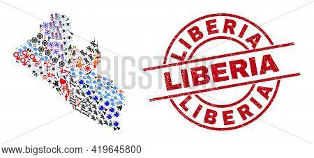 Liberia Map Collage And Textured Liberia Red Round Stamp Print. Liberia Badge Uses Vector Lines And